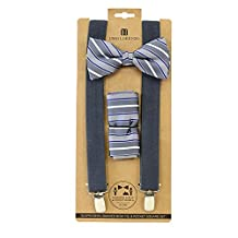 Men's Charcoal Stripes 3 PC Clip-on Suspenders, Bow Tie and Hanky Set