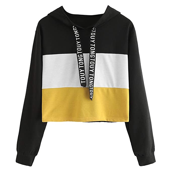 Womens Long Sleeve Color Striped Hoodies TOUYTONG Letter Printed Tape Hooded Pullover Sweatshirt Short Blouse at Amazon Womens Clothing store: