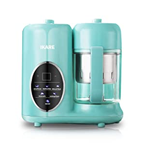 Baby Food Processor - IKARE Self Clean Baby Food Maker Blender Grinder Steamer with Detachable Water Tank and 304 Stainless Steel Steam Basket - Touch Control Panel -Cooks Baby Food in 15 Minutes