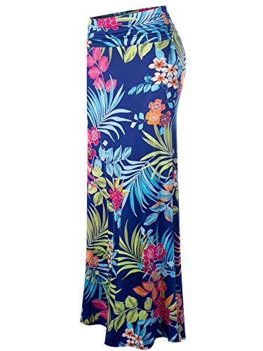 MixMatchy Women's [Made in USA] Basic Foldable High Waist Regular and Plus Size Maxi Skirts FLO Blue Print L
