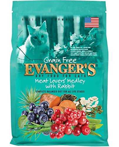 Evanger'S 776604 Grain Free Meat Lover'S Medley With Rabbit Dry Cat Food, 4.4-Pound (Best Rabbit Feed For Meat Rabbits)