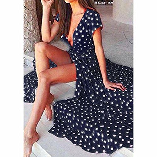 Dot Maxi Robe Wrap L Bleu Marine Jaycargogo Sexy Polka Cou Profonde V Des Femmes