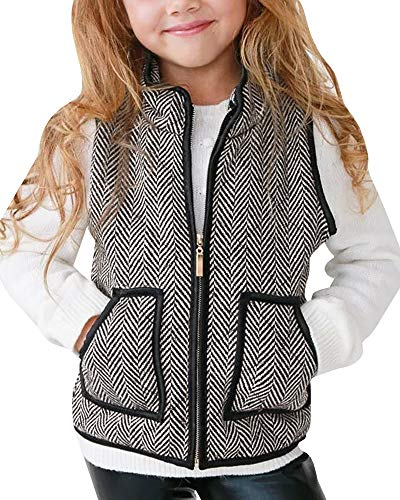 - Girls Vest Cute Striped Buffalo Puffer Quilted Jackets Fall Clothes Winter Warm Lined Gilet Size 4-5