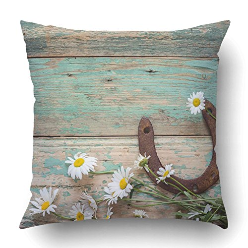 FbaPan Throw Pillow Covers Rustic with Rusty Horseshoe and Daisies On Old Wooden Boards Copy Space Top 18 x 18 Inch Square with Hidden Zipper Polyester Home Sofa Cushion Decorative 45cm