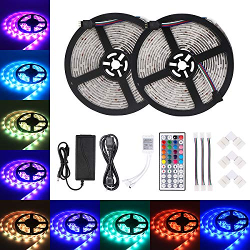 Relohas Led Strip Lights 2×16.4ft RGB Color Changing Lights Kit, SMD 5050 Flexible Waterproof 300LEDS with Sponge Adhesive,44-Key IR Controller,for Holiday, Party, Indoor&Outdoor ()