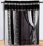 Chezmoi Collection Black and White Micro Fur Zebra with Giraffe Design Window Curtain/Drape Set, with Sheer Backing