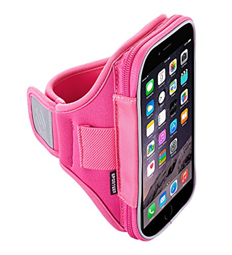 Sporteer V160 Armband for iPhone 7 Plus, iPhone 6S Plus, Google Pixel XL, Galaxy S7 Edge, S6 Edge +, Note 5, Moto G4/G4 Plus, Moto Z, Nexus 6P, and Other Phones w/ Cases - Strap Size S/M (Pink)