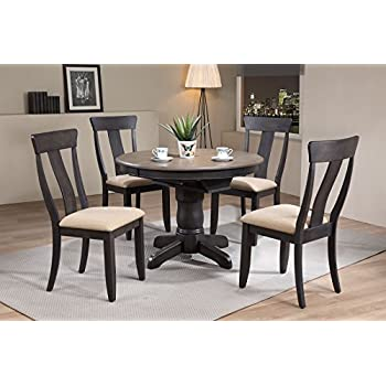 This Item Iconic Furniture 5 Piece Round Panel Back Upholstered Dining Set 42 X 60 Antiqued Grey Stone Black