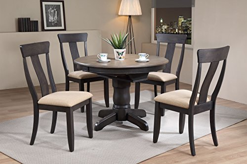 (Iconic Furniture 5 Piece Round Panel Back Upholstered Dining Set, 42