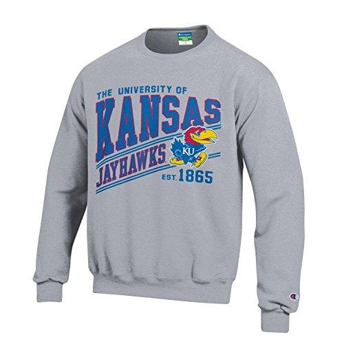 Champion NCAA Kansas Jayhawks Youth Boys Fleece Crew, Medium, Gray - Kansas Jayhawks Gear