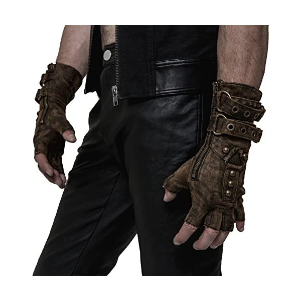 Punk Rave Steampunk Fingerless Motorcycle Faux Leather Gloves for Men Accessories 3