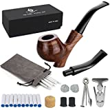 Joyoldelf Rosewood Tobacco Smoking Pipe Set - Wooden Pipe with Standing Leg Holder