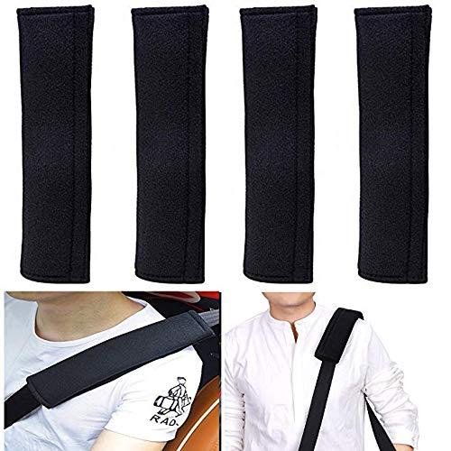 4 Pack Universal Car Safety SeatBelt Shoulder Strap Pad Soft Headrest Neck Support Pillow Cover Cushion,No Slip,No Rubber-A Must Have for All Car Owners for a More Comfortable Driving (Black)