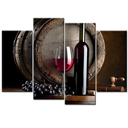 iKNOW FOTO Large 4 Pieces Wall Art Kitchen Canvas Artwork Fruits Grapes Wine Bottle Foods Canvas Painting Contemporary Barrel Pictures Dining Room Wall Decor Home Decoration (Bottle Art Wine)