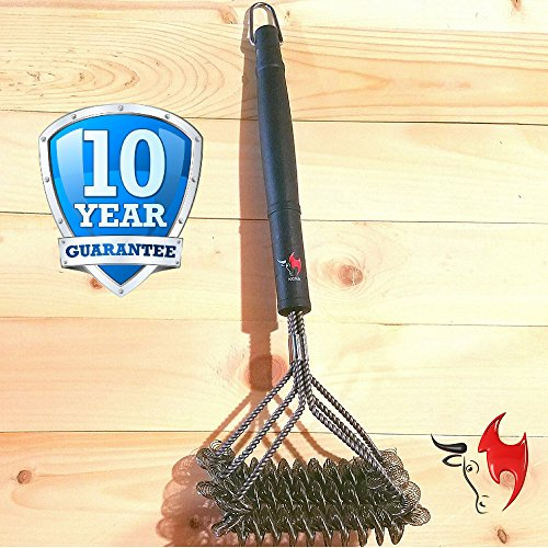 Kona Safe/Clean Grill Brush ~ Bristle Free Barbecue Grill Brush - 100% Rust Resistant Stainless Steel BBQ Grill Cleaner ~ Safe For Porcelain, Ceramic, Steel, Iron ~ Great Grilling Accessories Gift