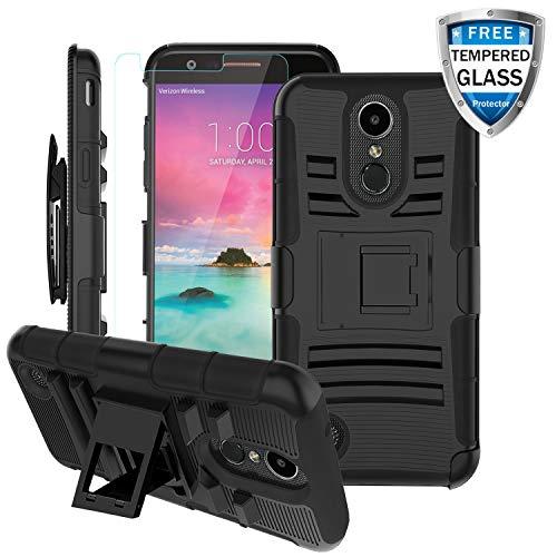 LG K20 Plus Case, LG K20 V/LG Harmony/K10 2017/LV5 /VS501/LG Grace LTE Case w/Glass Screen Protector&Built-in Kickstand&Swivel Belt Clip,Hybrid Dual Layer Heavy Duty Armor Phone Cover Men/Women-Black