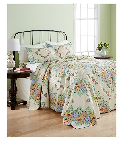 Martha Stewart Collection Cotton Coneflower Diamond Quilted King Bedspread