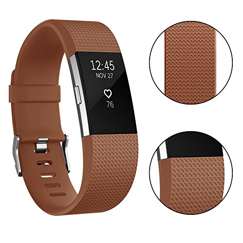 Vancle Fitbit Charge 2 Bands, Classic Edition Adjustable Comfortable Replacement Strap for Fit bit Charge 2 (No Tracker) (1PC (Coffee), Small)
