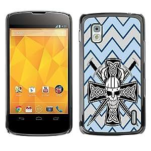 - Devil Cross Chevron Pattern - - Monedero pared Design Premium cuero del tir¨®n magn¨¦tico delgado del caso de la cubierta pata de ca FOR LG Goole Nexus 4 E960 Funny House