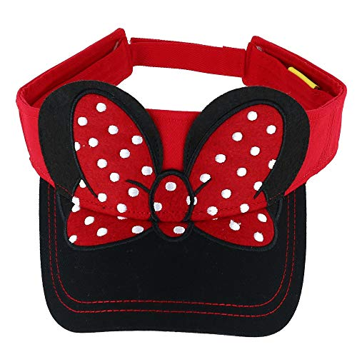 - Disney Adult Hat Visor Minnie Bow Red Black (OSFA)