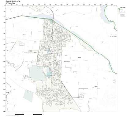 Amazon.com: ZIP Code Wall Map of Santa Maria, CA ZIP Code Map