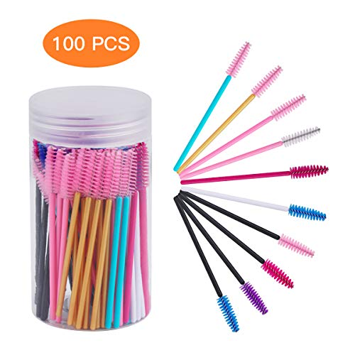 Cuttte 100pcs 10 Colors Disposable Mascara Brushes Wands with Container, Eyelash Brush Makeup Applicators Kits for Eyelash Extensions and Mascara Use