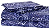 Elite Home Collection Harbour Paisley Print Luxurious Microfiber 4-Piece Sheet Set, Queen Size, Navy