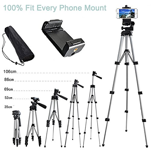 Alovexiong 110cm General Portable Camera Tripod Stand Holder Adjustable Rotatable Retractable Tripods + Smartphone Clip Holder Mount For iPhone 5 6S 7 8 9 Plus X Galaxy S6 S7 LG Video Cameras GoPro (Clips 110 Video)