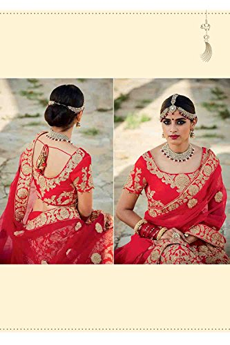Da Facioun Silk Fabric Red Pretty Lehenga Style With Embroidery Work Dupatta 79599