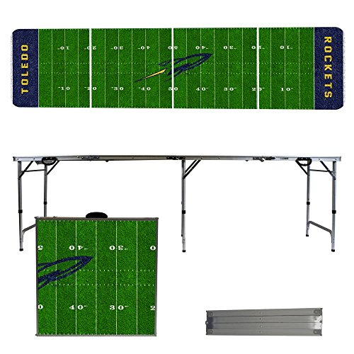 NCAA Toledo Rockets Football Field Version 8-Feet Portable Folding Tailgate Table by Victory Tailgate
