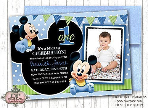 Amazon 10 disney prince baby mickey mouse inspired black and 10 disney prince baby mickey mouse inspired black and blue polka dot first birthday party invitations filmwisefo