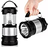 Edios Premium Plastic made Portable Outdoor LED Camping Lantern Solar Lamp Lights Handheld Flashlights with Rechargeable Battery for Backpacking, Hiking, Fishing, Emergencies Outages-Silver