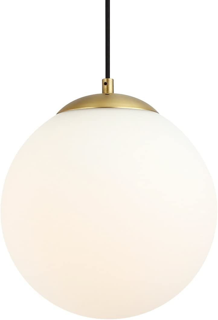 Light Society Zeno Globe Pendant, Matte White with Brass Finish, Contemporary Mid Century Modern Style Lighting Fixture LS-C175-BRS-MLK