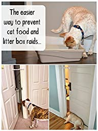 Door Buddy Adjustable Door Strap & Latch. Easy Way To Dog Proof Litter Box. No More Pet Gates Or Cat Doors. Convenient Cat & Adult Entry. No Tools Installation. Stop Dog Eating Cat Poop Today! (Grey)