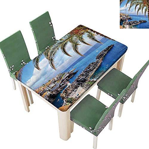 Printsonne Indoor and Outdoor Tablecloth Aerial of Italian Island Mediterranean Fisherman Village Rock Cliffs Shore Liquid Spills Bead up 54 x 72 Inch