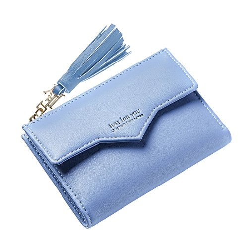Slim Wallet Women's Mini Purse Credit Card Case Houlder Compact Bifold Pouch Coin Zipper Pocket Small Clutch Tassel Blue