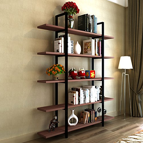 Tribesigns 5-Tier Bookshelf, Vintage Industrial Style Bookcase 72 '' H x 12'' W x 47''L, Cherry