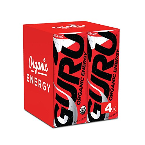 Ginseng Energy Drinks (GURU Organic Energy Drink – Delicious-Tasting, Vegan, Non-GMO Natural Energy – Experience All Day Energy Without the Jitters, Rush or Crash – 4 x 8oz/250ml Cans)