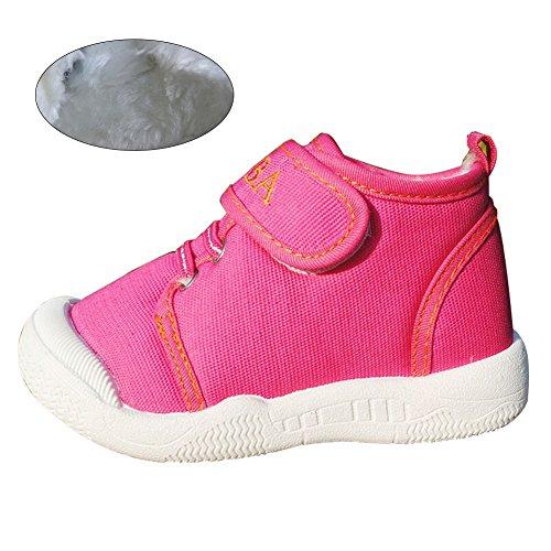 KVbaby Kinders Canvas Lauflernschuhe - Weiche Winter Warme Schuhe Anti Slip Boots - mit Klettverschuß für Baby Mädchen Jungen - Schwarz / Blau / Rosa Rosa
