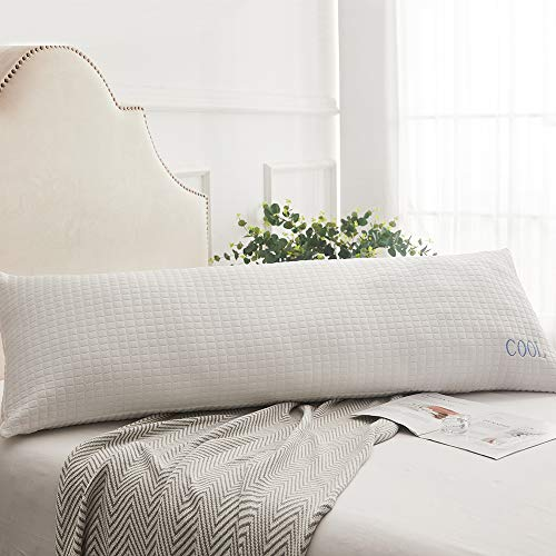 "Decroom Removable Body Pillow Cover - Cool Fiber and Bamboo Fiber Body Pillowcase with Zipper - White,20"" x 54"""