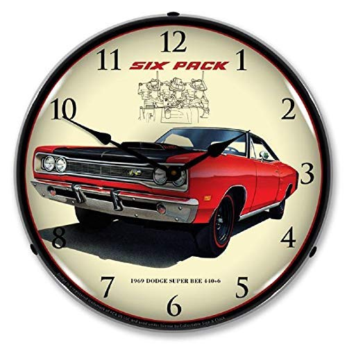 1969 Dodge Super Bee Six Pack 440+6 Red Muscle Car Wall Clock 14