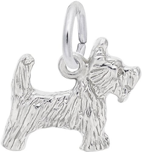 (Rembrandt Small Scottie Dog Charm - Metal - Sterling Silver )
