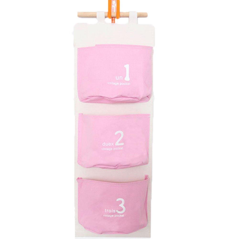 iTemer porta Wall Hanging Organizer con 3tasche in lino/cotone ufficio Home Storage Bag per bagno, cucina, camera da letto Blue
