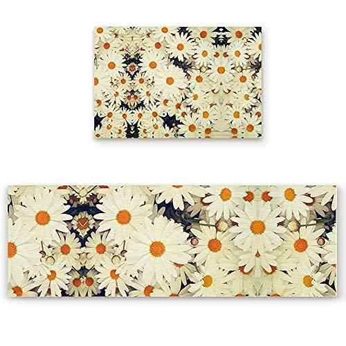 YGUII 2 Piece Kitchen Mat Non-Slip Doormat Bathroom Runner Rug Set - Blooming Daisies 16X23.6in (40x60cm) and 16X47in (40x120cm)