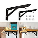 KINGSO 2 Pack 11'' Folding Steel Shelf Brackets, Table Folding Shelf Bench Table Folding Bracket Heavy Duty Folding With Mounting Screws Short Release Arm Bench, Max Load: 300lb