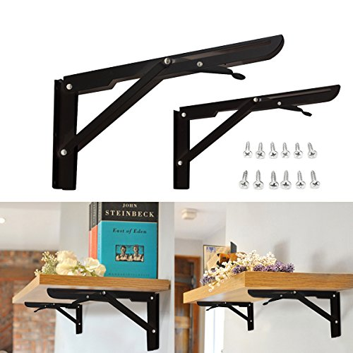KINGSO 2 Pack 11'' Folding Steel Shelf Brackets, Table Folding Shelf Bench Table Folding Bracket Heavy Duty Folding With Mounting Screws Short Release Arm Bench, Max Load: 300lb by KINGSO