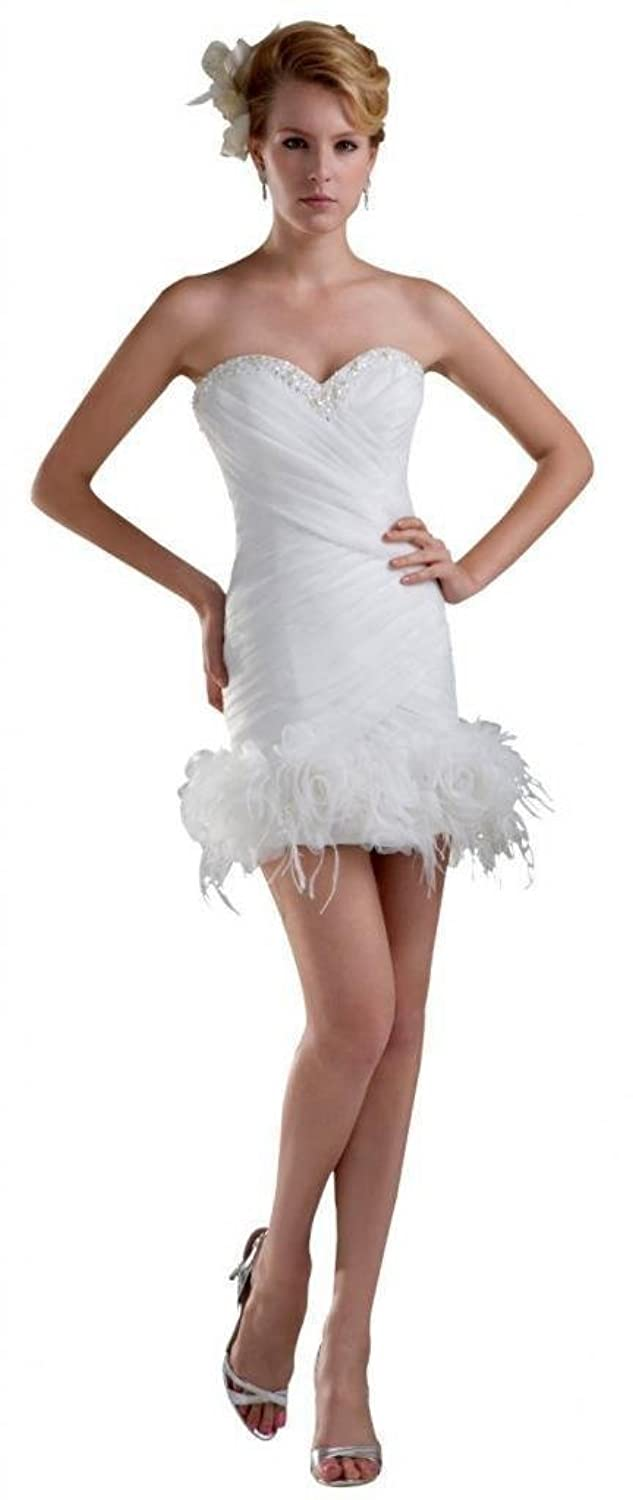 Dearta Women's Sheath/Column Sweetheart Short/Mini Tulle Wedding Dresses