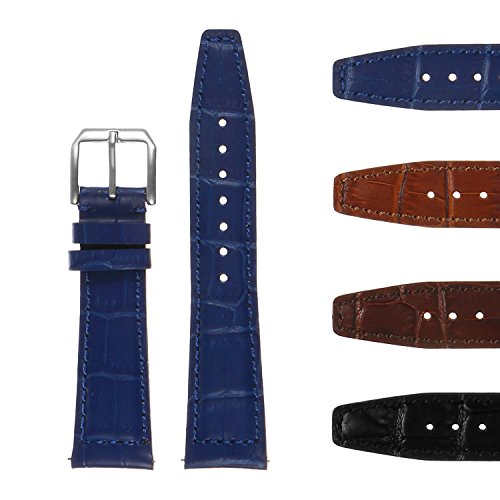 DASSARI Premium Crocodile Embossed Leather Watch Band - Quick Release Strap - 20mm 21mm 22mm ()