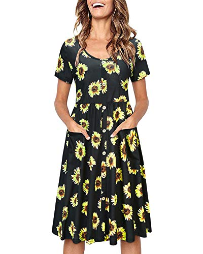 OUGES Women's Long Sleeve V Neck Button Down Midi Skater Dress with Pockets(Floral01,S)
