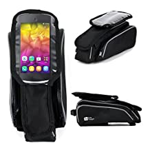DURAGADGET Shockproof Bicycle Front Frame Saddle Bag with Double Pouch for NEW BLU Selfie Smartphone (2015 Release)